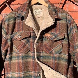 WOOLRICH Wool Fleece Sherpa Lined Shirt Jacket